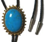 BLUE ''TURQUOISE'' HOWLETT BOLO TIE / gold coloured border